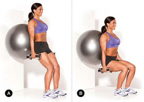 Wall Squat with Ball exercise
