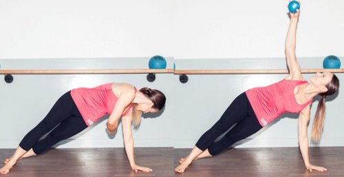 Side Plank with Weighted Barre Ball