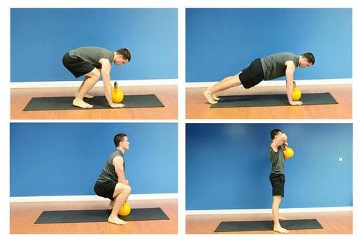 Burpee to High-Pull kettlebell