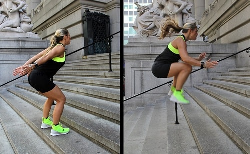 squat jump stairs