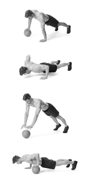 Alternating-arm push-ups on plate exercise