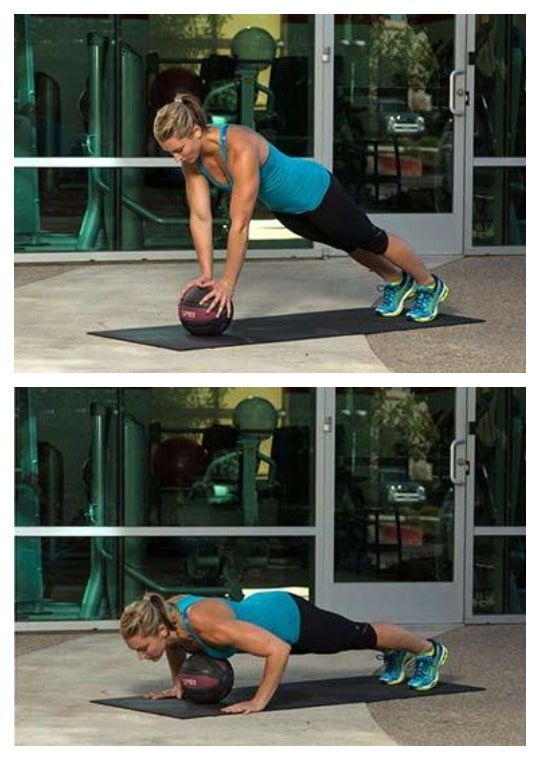 Plyo push-ups on a medicine ball exercise