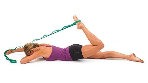 Stretch Lying prone quad stretch with strap
