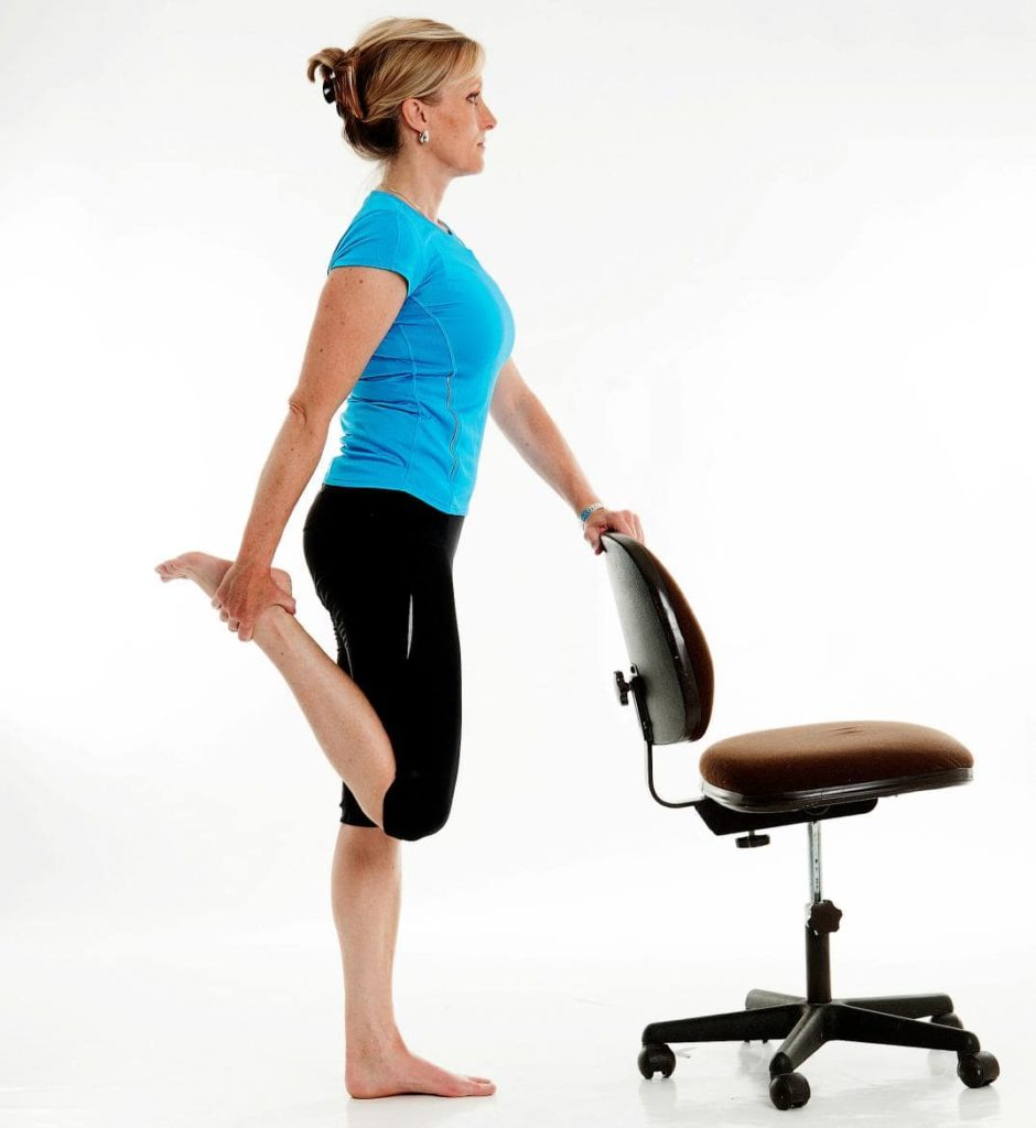 Standing Quad Stretch with a chair